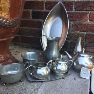 Pewter tea and cookie service. Never used.